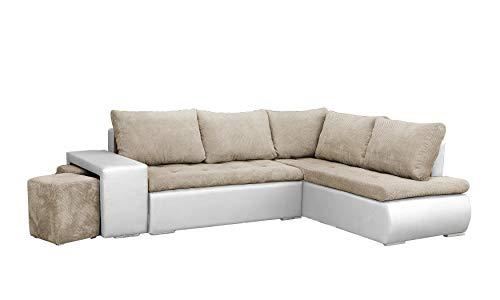 mb-moebel Ecksofa mit Zwei Hocker Sofa Eckcouch Couch mit Schlaffunktion und Bettkasten Ottomane L-Form Schlafsofa Bettsofa Polstergarnitur - BELGRAD (Ecksofa Rechts, Beige + Weiß)