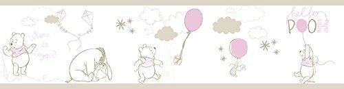 Rasch Textil selbstklebende Papierborte Bordüre - Kollektion Disney Fantasy Deco P35212 Winnie Pooh weiß beige rosa