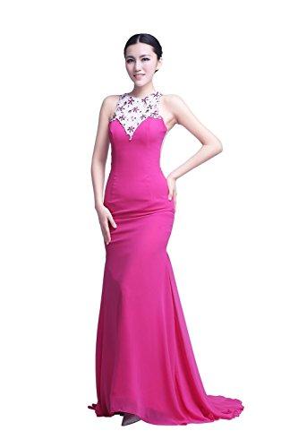 YiYaDawn Langes Glamouröses Abendkleid Ballkleid Hochzeitskleid für Damen Fuchsia