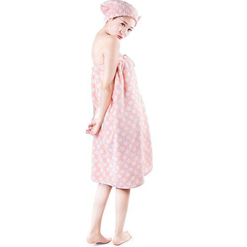DANCICI Schnee samt können tragen, Badetuch Baumwolle saugfähigem Damen Badetuch super weicher Bogen brace Handtuch Badetuch Anzug Badewanne Rock + Bad Cap 78 x 150 cm, lila Rosa