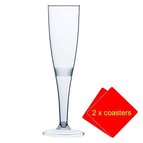 Lot de 20 flûtes à champagne - Plastique de qualité supérieure 160 ml. Idéales pour les pique-niques, le camping, le glamping, les festivals, la piscine, le barbecue (barbecue), le jardin. Livrées avec 2 sous-verres AIOS.