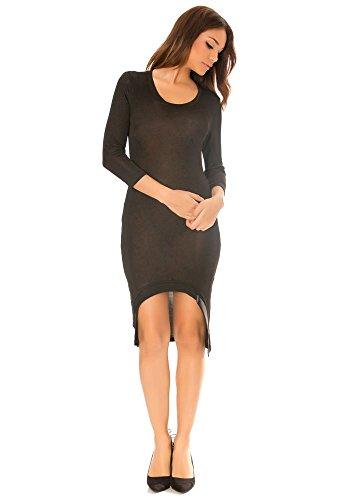 dmarkevous - Robe mi-longue noire femme à manches 3/4 col rond et coupe asymétrique Noir