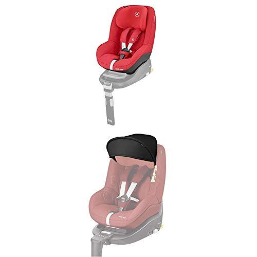 Maxi-Cosi Pearl Kindersitz mit 5 Sitz- und Ruhepositionen, Gruppe 1 Autositz (9-18 kg) nutzbar ab 6 Monate bis ca. 4 Jahre, nomad red + Maxi-Cosi Sonnenverdeck, Sonnenschutz schwarz