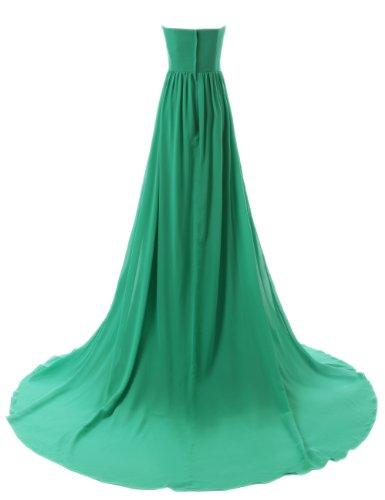 Dressystar Robe de Princesse avec Traîne moyenne à Col en Cœur en Mousseline de Soie aux Perles de demoiselle d'honneur/de fête/de soirée Ivoire