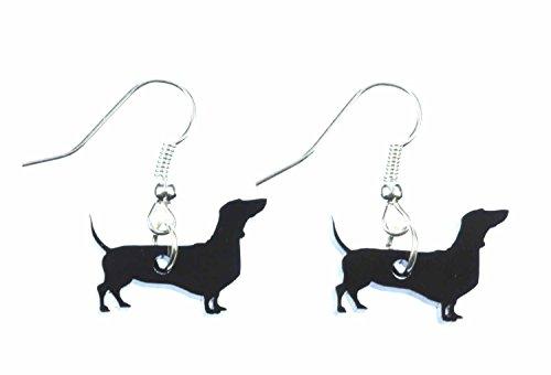 Bassotto cane orecchini gancio Miniblings Saussage bel.de Plexiglas tetto (Tetto Hanger)