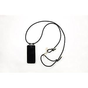 iPhone 6S Hülle zum umhängen mit geflochtener Lederkordel in schwarz