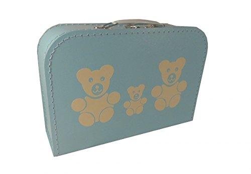 Pappkoffer hellblau mit Teddys 30 cm