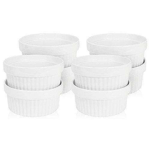 COM-FOUR® 8 bols à ailettes à ragoût en céramique, moules XXL à cocotte et à pâtisserie, par exemple, crème brûlée, en blanc, 200 ml (08 pièces)