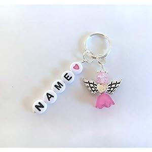 Wunschname Schlüsselanhänger, Perlenengel, Schutzengel, Geschenk, Farbauswahl, in verschiedenen Farben