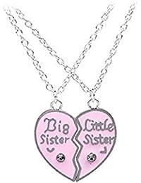 f9e3d8d26551 Sprießen 2 UNIDS Set Pretty Ladies Collar Personalizado Gran Hermana  Pequeña Hermana Amor Corazón Colgante Collar de Joyas…