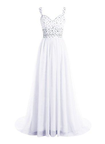Bbonlinedress Robe de cérémonie Robe de bal emperlée en tulle avec traîne Blanc