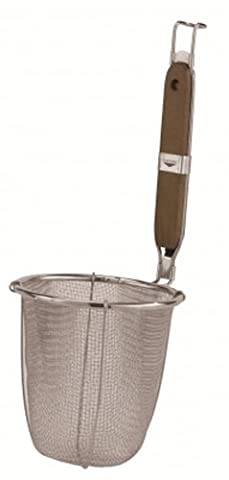 Paderno World Cuisine Noodle Strainer with Stainless Steel Mesh and Wood Handle