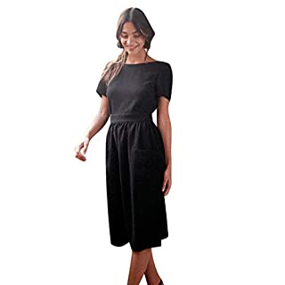 Gofodn Dresses for Women Summer Elegant Sexy Solid Short Sleeve Backless Button Party Dress Black