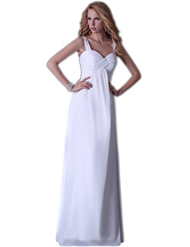 Grace kunjudo Cocktail abiti Chiffon senza maniche Maxi sera vestiti misure 6-20 Bianco