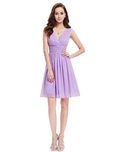 Ever Pretty Robe de soir¨¦e au genou en double V-col classique 03989 Violet clair