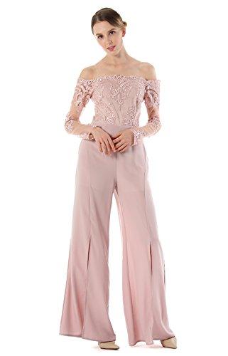 ACVIP Salopette Pantaloni Gamba con Spacchi Anteriore Fuori Spalla Top Pink