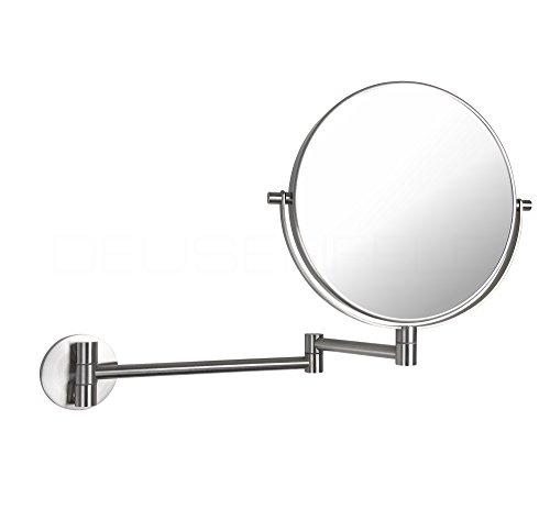 DEUSENFELD K72EG - Echt Edelstahl doppel Wand Kosmetikspiegel, 7X Vergrößerung + Normalspiegel, Ø20cm, 360° vertikal und horizontal schwenkbar, matt gebürstet