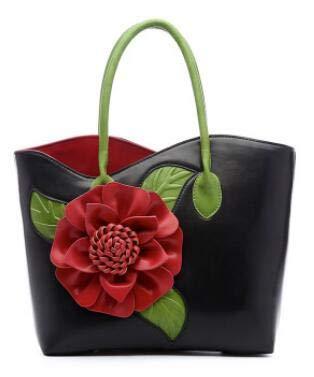 KBFDWEC Floral Totes Handtasche Frauen Applikationen Blume Umhängetasche SommerEinkaufstasche Weiß Grün Rot Lila Farbe, Schwarz - Schwarz / Rot Floral Handtasche