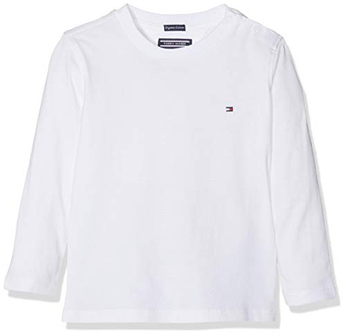 Tommy Hilfiger Jungen Boys Basic Cn Knit L/S T-Shirt, Weiß (Bright White 123), 164 (Herstellergröße: 14)