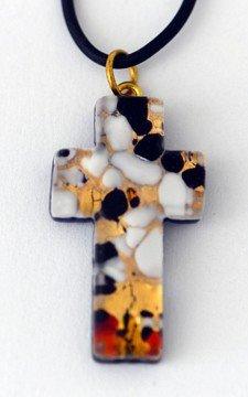 Kreuz aus venezian.Muranoglas,ca.3,5x2cm mit Kautschuk-Band