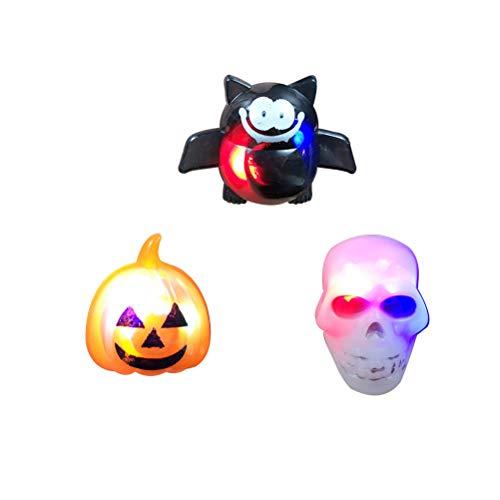 Toyvian 3 stücke LED leuchten Blinkringe Kürbis Spinne Schädel Form Halloween Spielzeug für Kinder Halloween Party Favors (Sie Für Halloween Einen Kürbis Bereiten)
