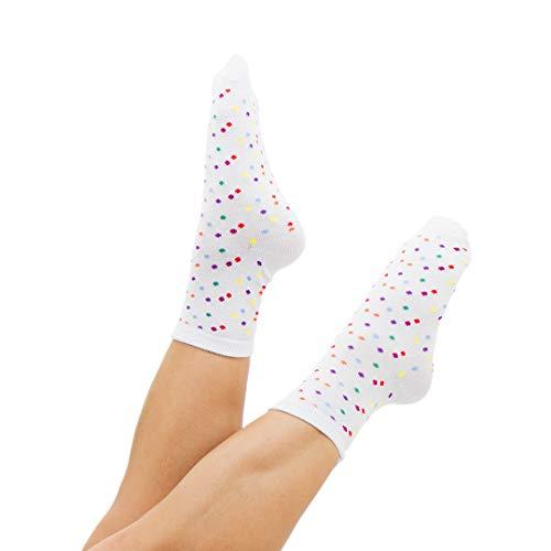Außergewöhnliche Damensocken / Söckchen - Typ Eiscreme: bunte Punkte - lustige Socken für Damen - weiche Baumwolle - mit Schnürbatik gefärbt