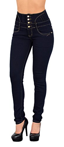 by-tex ESRA Damen Jeans Hose Skinny Damen Röhrenjeans High Waist Jeanshose Hochbund in vielen Farben J22 (Size Plus Jeans-corsagen)