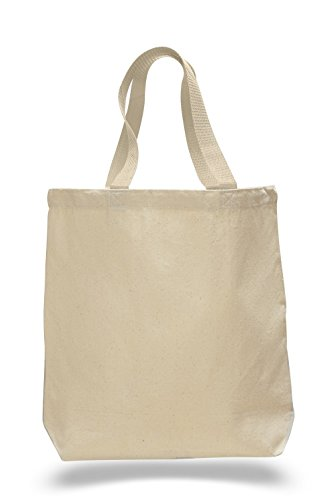 Cotton Canvas Gusset And Contrasting Handles Tote Bag