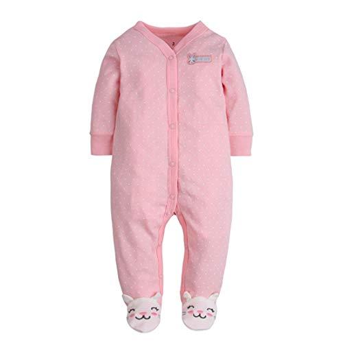 CARETOO Baby Strampler Jungen Mädchen Baumwolle Baby-Nachtwäsche Cartoon Schlafanzug Overalls mit 0-12 Monate