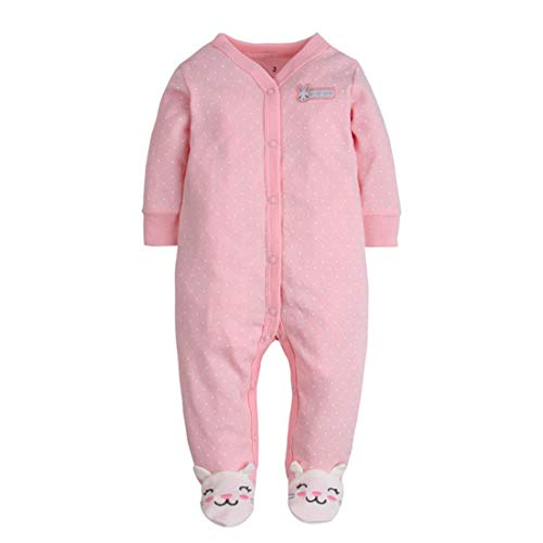 CARETOO Unisex Baby Schlafstrampler , Baumwolle  Strampler, Hase rosa, Gr. 3 Monate