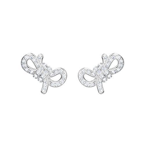 Swarovski Damen Lifelong Bow Ohrringe für Frauen, weißes Kristall, rhodiniert 5447080