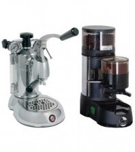 La Pavoni Chrome Combo set 10: Handhebel Espressomaschine La Pavoni Stradivari SPL und La Pavoni Kaffemühle JDL