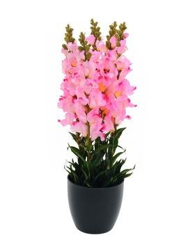 artplants - Künstliches Löwenmäulchen im Dekotopf, 20 Blüten rosa-pink, 60 cm - Kunstblume getopft / Deko Blumen