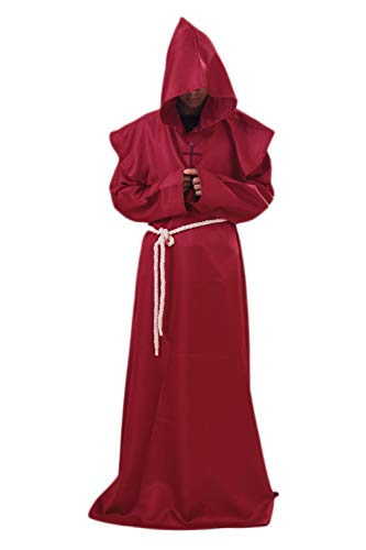 Männer Halloween - Kostüme Mittelalter Cosplay Zauberer Priester Roben Hoodies Rot L