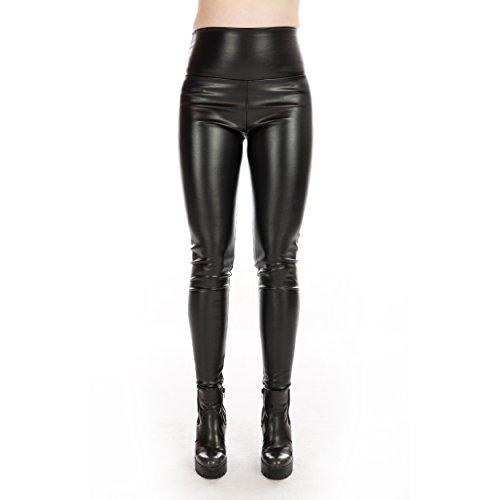 Rubberfashion Kunstleder Leggings, glänzende Kunst-Leder Leggin bis zur Taille für Frauen und Mädchen Menge: 1 Stück schwarz M