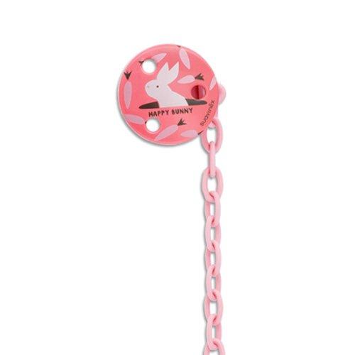 Suavinex Happy Bunny Schnullerkette rund rosa