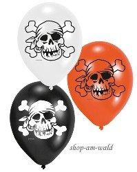 Riethmuller - 6 Ballons Pirate Jolly Roger (orange, noir, blanc)