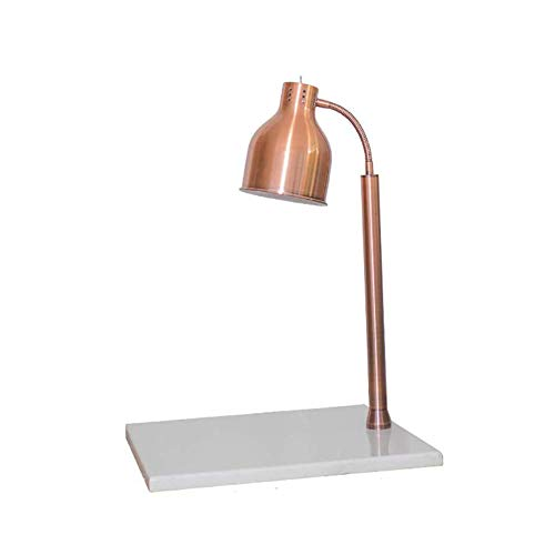 FYRS Professionelle Kommerzielle Heizlampe Einzigen Kopf Essen Warmes Licht 250 Leistung Edelstahl Frischhaltung Tischlampe 55 × 50 × 70cm,WhiteCopper -