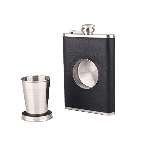Dyda6 - Petaca de Viaje con Vaso de chupito, 8 onzas, minicasco de Alcohol Plegable de Piel y Acero...