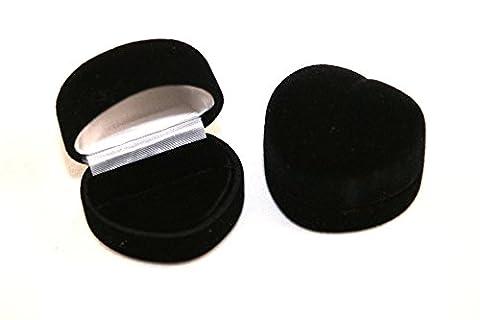 1 x Black Velvet Heart Shaped Ring Box - Wedding, Engagement Ring Box