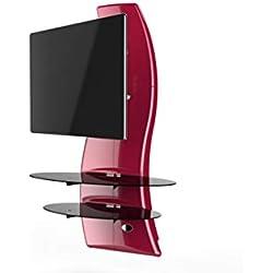 Meliconi Ghost Design 2000 DR Meuble Mural Orientable avec Bras de Déport pour Écran Plasma/LCD 32 à 63'' - Rouge Métallisé