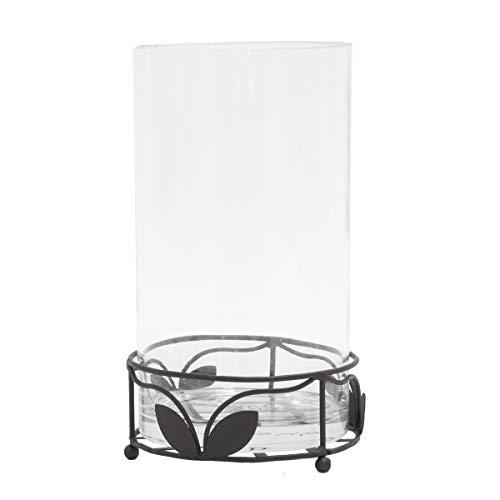 Windlicht aus Metall/Eisen in schwarz mit Glaseinsatz von Varia Living | schöner floraler Sockel im modernen Vintage Shabby Look | wunderschöne Beleuchtung und Dekoration in der Wohnung, auf dem Balkon, auf der Terrasse oder im Garten | Höhe 28 cm