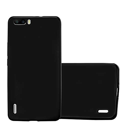 Cadorabo Hülle für Honor 6 Plus - Hülle in METALLIC SCHWARZ – Handyhülle aus TPU Silikon im Matt Metallic Design - Silikonhülle Schutzhülle Ultra Slim Soft Back Cover Case Bumper