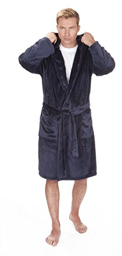Herren Weiche Mit kapuze Flanell Fleece Umkleide Kleid. Schwarz, Marine oder Grau Größen M L XL 2XL 3XL 4XL 5XL Schwarz