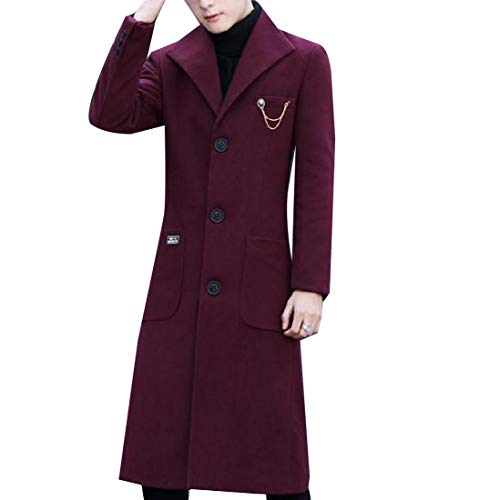 CuteRose Men Single Breasted Slim-Fit Mid Long Woolen Coat Trench Coat Outwear Wine Red S Mens Double Breasted Trench Coat