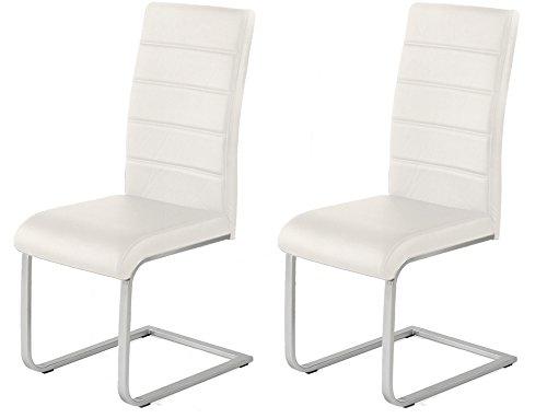 2 x Polsterstuhl Jan Piet mit hochwertigem PU Kunstleder weiss Freischwinger NEU Jetzt 120 kg belastbar Gestell einteilig (Weiß Polsterstuhl)