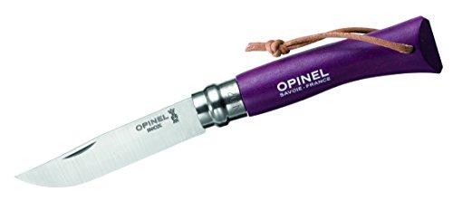 Opinel-Messer Nr. 7, 254198, rostfreier Sandvik-Stahl 12C27, lila Buchenholzgriff, Lederriemen, Virobloc-System