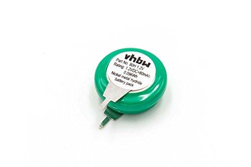 vhbw NI-MH Akku 80mAh (1.2V) 2 Pins - Printanschluss für Modellbau, Solarleuchten, Telefon, etc. wie V80H