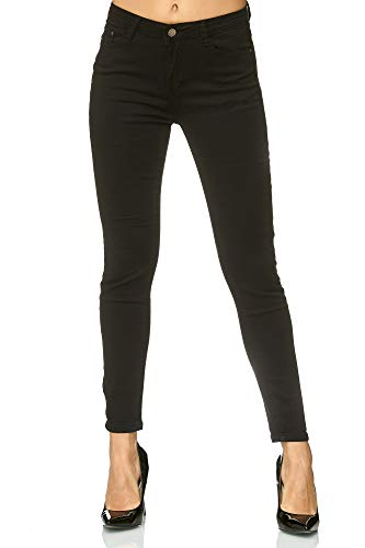 Elara Damen Stretch Hose | Skinny Röhrenjeans | Elastischer Bund | Slim Fit | Chunkyrayan E776-1 Black 42