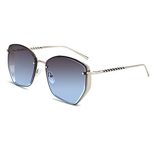 YHgiway Mode Unregelmäßige Luxus Sonnenbrillen für Männer und Frauen - Designer Polygon Geometrische verspiegelte Linse - Gold Big Frame Sonnenbrille UV400 YH7266,GrayBlueLens